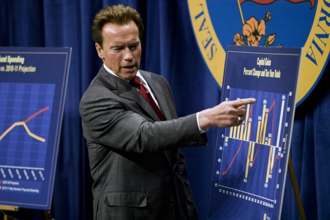 California Governor Arnold Schwarzenegger points at a graph as he proposes his $83.4 billion state budget plan.