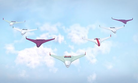 Aeroplanes of the future: solar-powered and in formation.