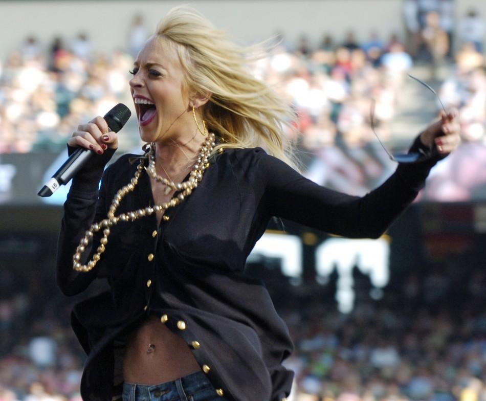 Lindsay Lohan performs during KIIS-FMs Wango Tango concert at the Angel Stadium in Anaheim, California. Actress-singer