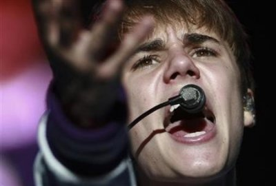 Canadian pop singer Justin Bieber performs during his My World Tour concert in Caracas