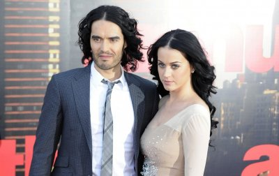 Russell Brand and Katy Perry arrive for the European premiere of the film Arthur in London