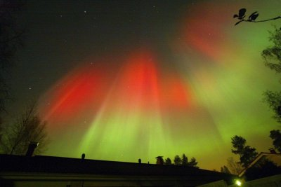The Aurora Borealis is seen over the town of Hyvinkaa in southern Finland October 31, 2003.
