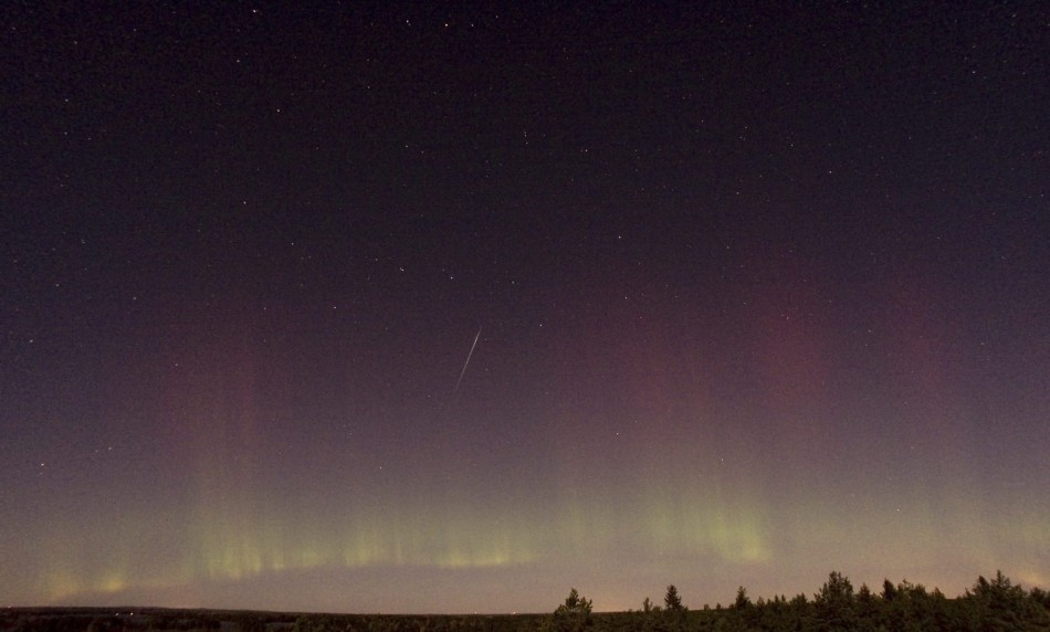 A view of a shooting star (Draconid) and northern lights near Skekarsbo at the Farnebofjardens national park, 150 km north of Stockholm on October 8, 2011.