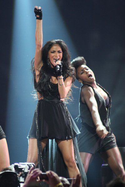 Singer Nicole Scherzinger performs during the second day of the iHeartRadio Music Festival at the MGM Grand Garden Arena in Las Vegas