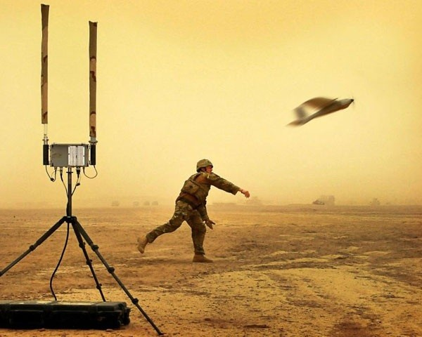 A soldier launching a drone, part of Capt Dave Scammells portfolio which won the Amateur Portfolio Category.
