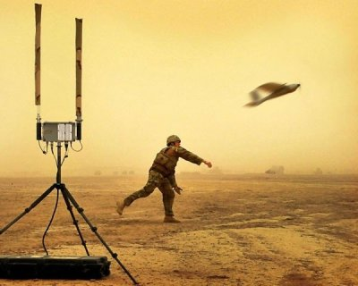 A soldier launching a drone, part of Capt Dave Scammells portfolio which won the Amateur Portfolio Category.