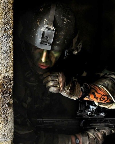 A soldier taking part in a training exercise