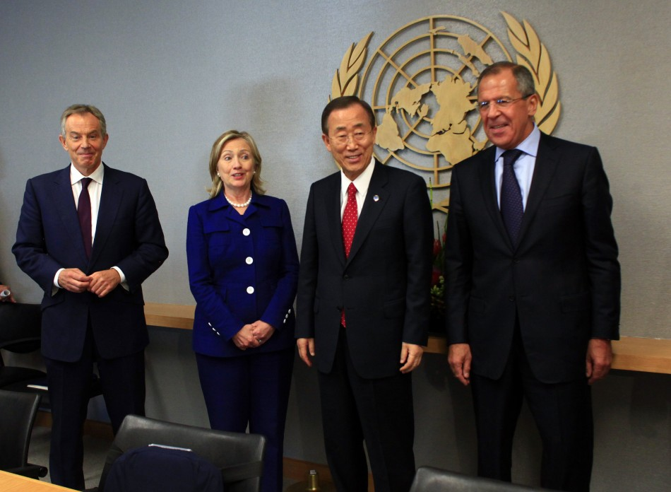 Members of the Middle East Quartet meet during the Millennium Development Goals Summit at the U.N. headquarters in New York