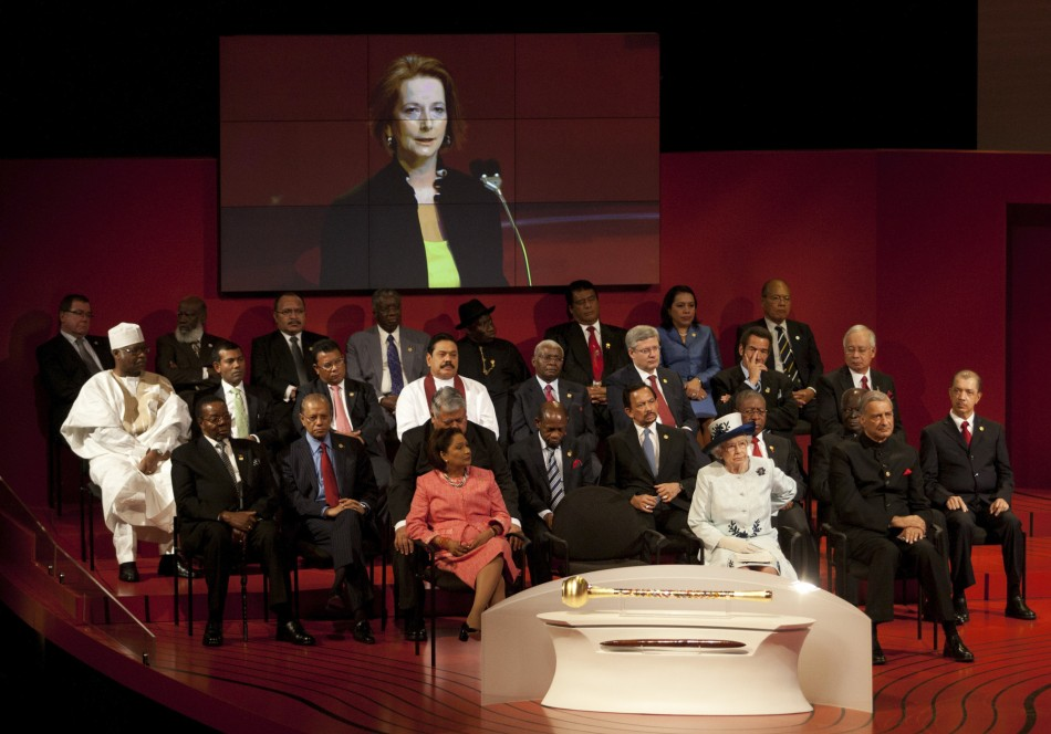 Britain's Queen Elizabeth, accompanied by Commonwealth leaders, listens to Australian Prime Minister Julia Gillard's speech during the opening ceremony of the Commonwealth Heads of Government Meeting in Perth