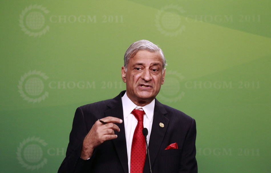 Commonwealth Secretary General Sharma answers question during news conference at a pre-summit business forum in Perth