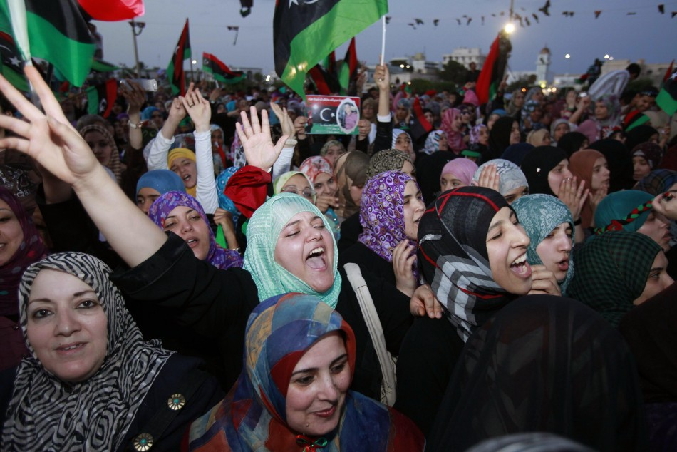 Women celebrate the liberation of Libya at Freedom Square in Misrata