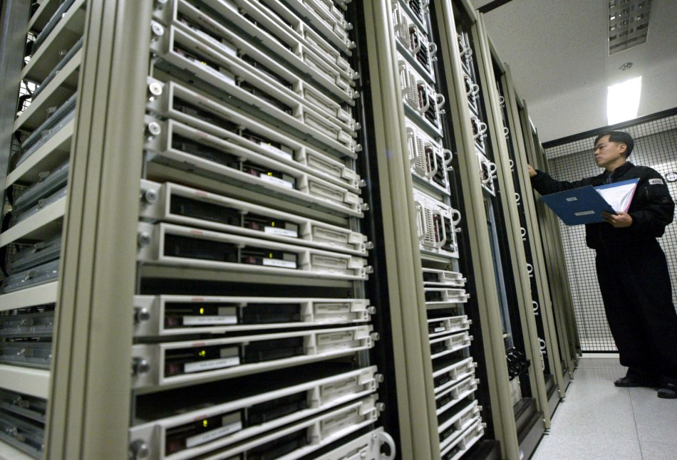 A South Korean engineer checks the status of an Internet server system providing broadb..