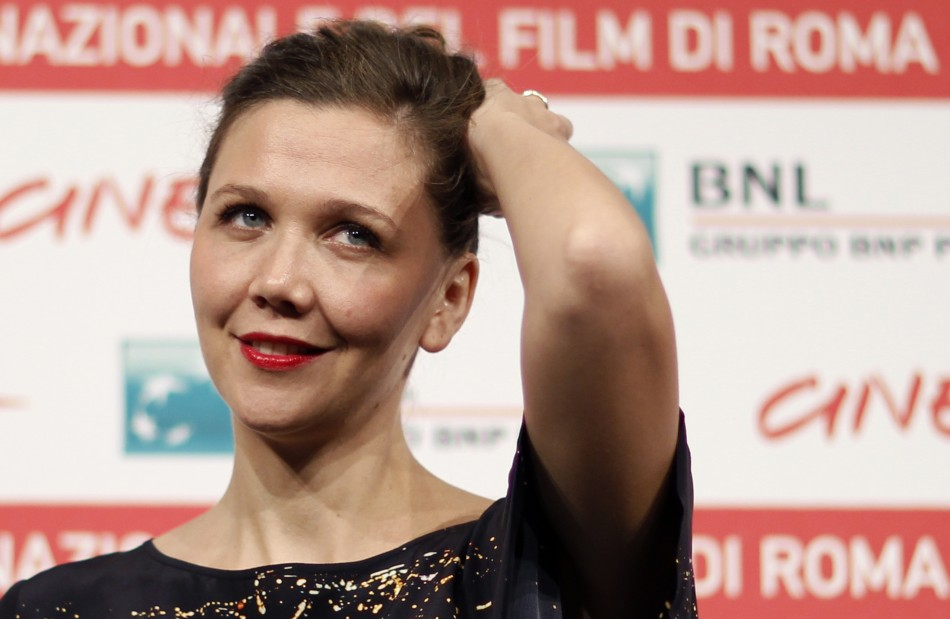 """Actress Gyllenhaal poses during a photocall of the movie """"Hysteria"""" by director Wexler at the Rome Film Festival"""