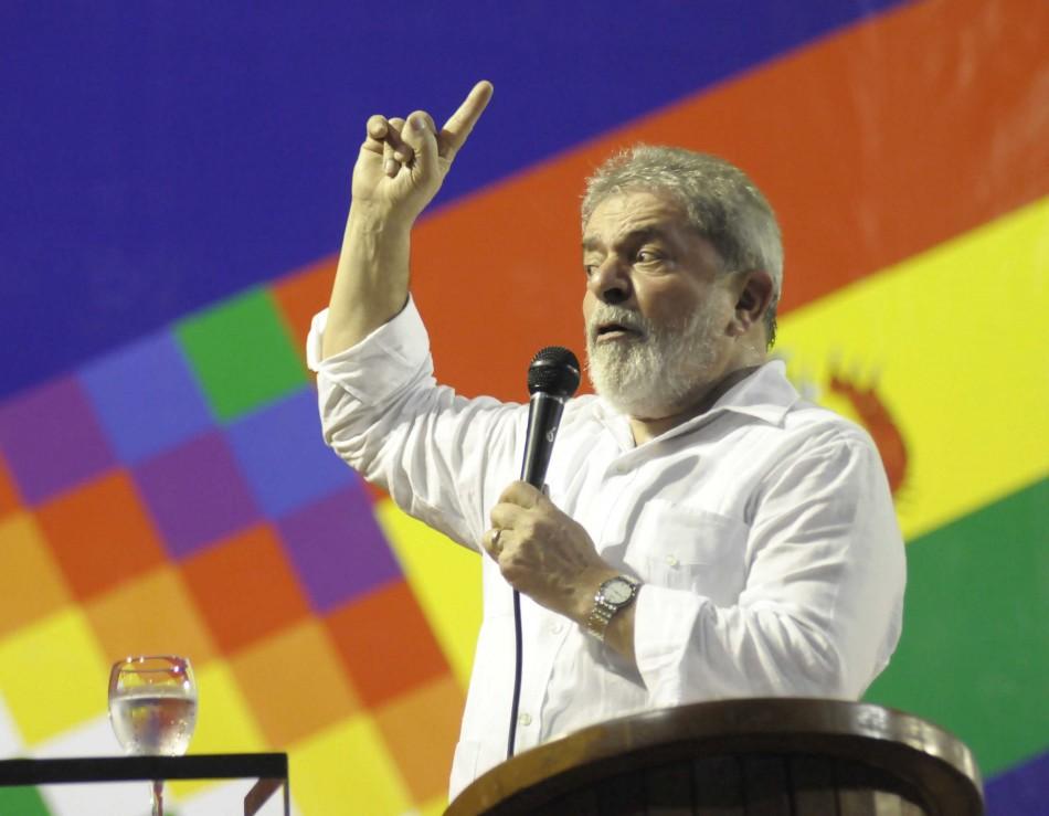 Brazil's former president Lula speaks during an economic forum in Santa Cruz