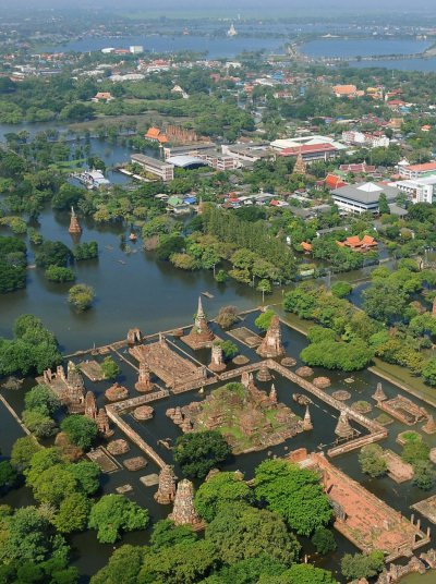 An aerial view shows flooded temples in Ayutthaya province