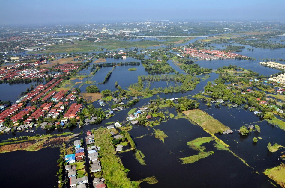 An aerial view shows flooded residential areas in north parts of Bangkok