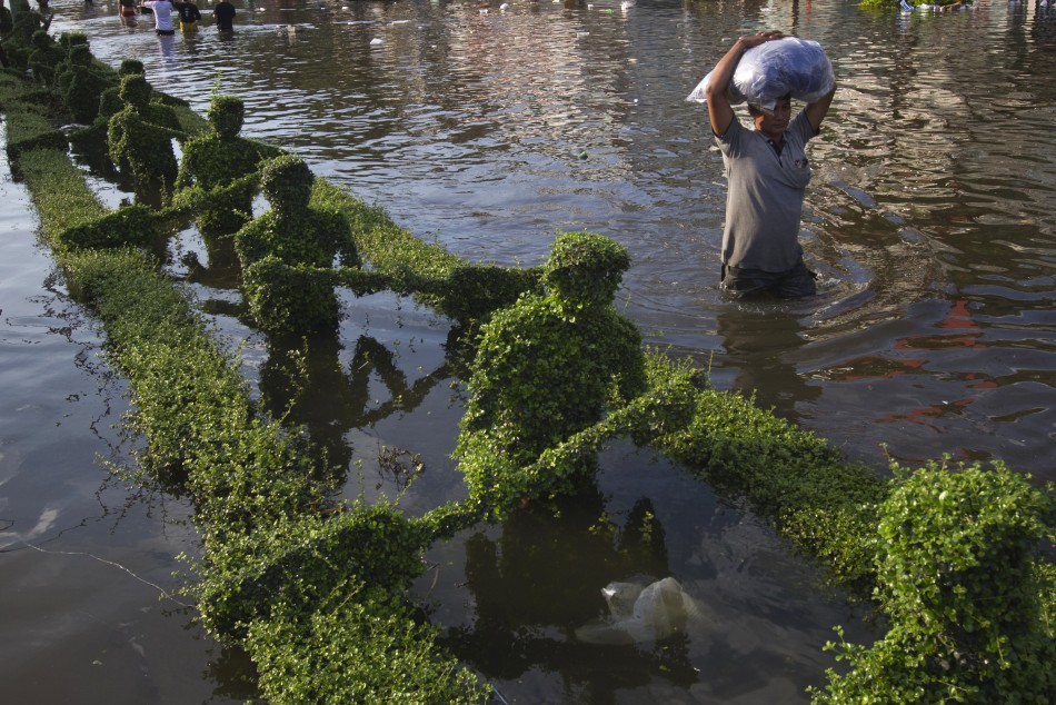 A man wades past sculptured hedges submerged by flood waters in a median in Bangkok's Bang Phlat district