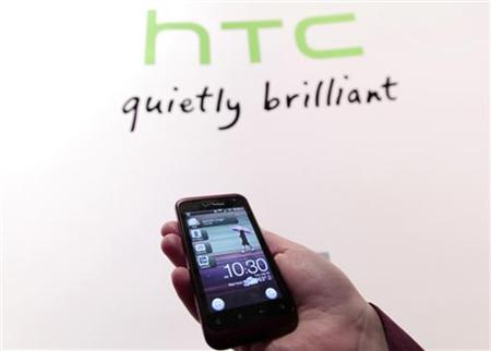 The new HTC smartphone Rhyme is shown during the unveiling event in New York