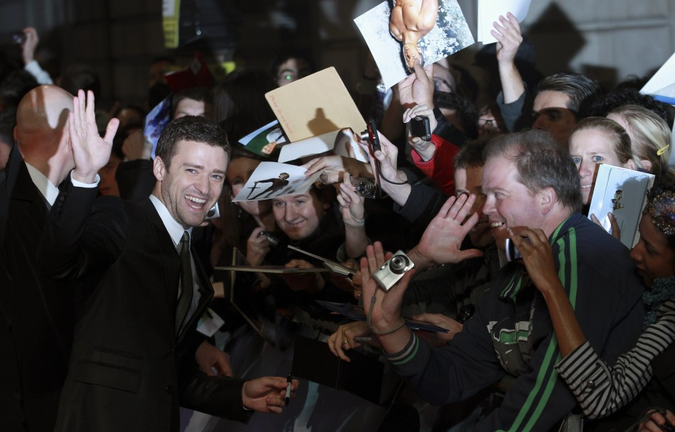 "Justin Timberlake signs autographs at the British premiere of the film ""In Time"" at the Curzon Mayfair cinema in London October 31, 2011"