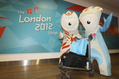 Wenlock and Mandeville get in on the action as the latest London 2012 shop opens at Heaththow Terminal 3 on Nov.1, 2011