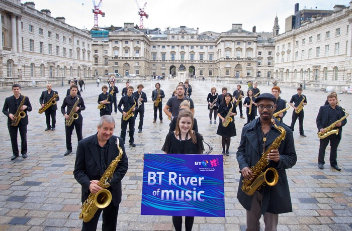 Leading British saxophonist Andy Sheppard and the Saxophone Massive helped launch BT River of Music at Somerset House in central London on Oct. 27,2011