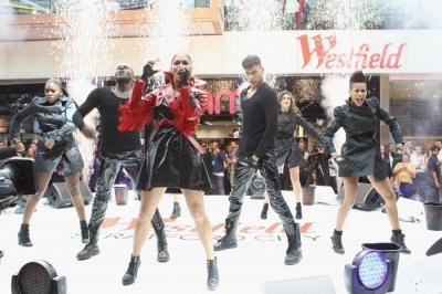 Nicole Scherzinger performs at the opening of the Westfield Stratford City shopping centre on Sept. 13,2011