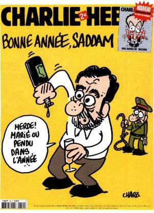 Charli Hebdo Cover showing Saddam Hussein