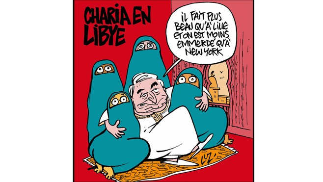 Charlie Hebdo Cover making fun of the Sharia law in Libya, following NTC announcement