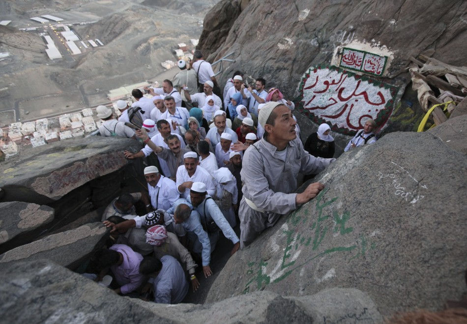 Muslim pilgrims make their way to Hera cave on Mount Al-Noor during the annual Hajj pilgrimage in Mecca