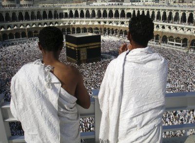 Pilgrims pray inside the Grand Mosque as thousands of Muslims circle the Kaaba in Mecca