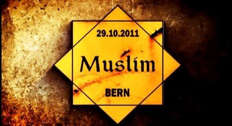 Reproduction of Sticker used during protests denouncing discrimination  against Muslims in Bern, Switzerland.