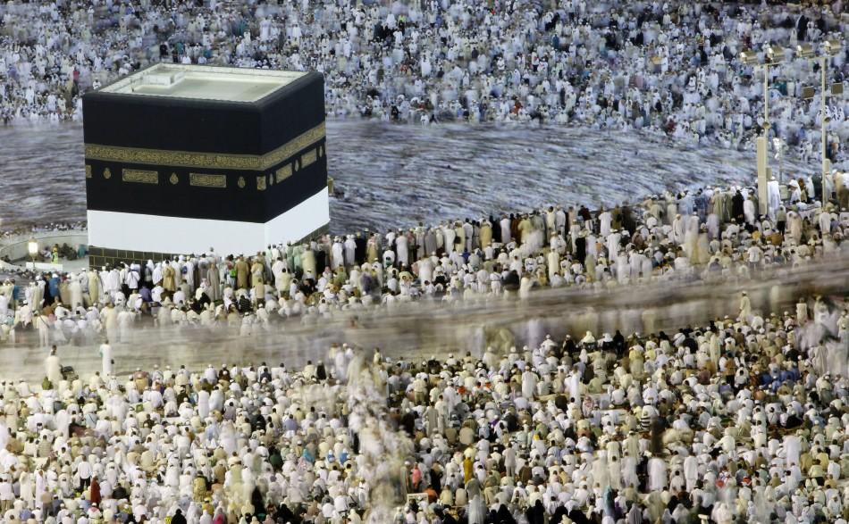 Muslim pilgrims circle the Kaaba at the Al-Masjid al-Haram Grand mosque in Mecca