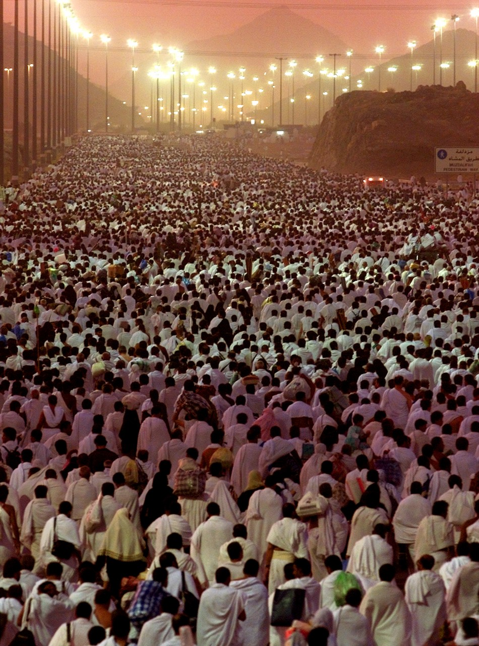 PILGRIMS MAKE THEIR WAY TO MUZDALIFAH AFTER PERFORMING WUQUF IN ARAFAT NEAR MECCA.