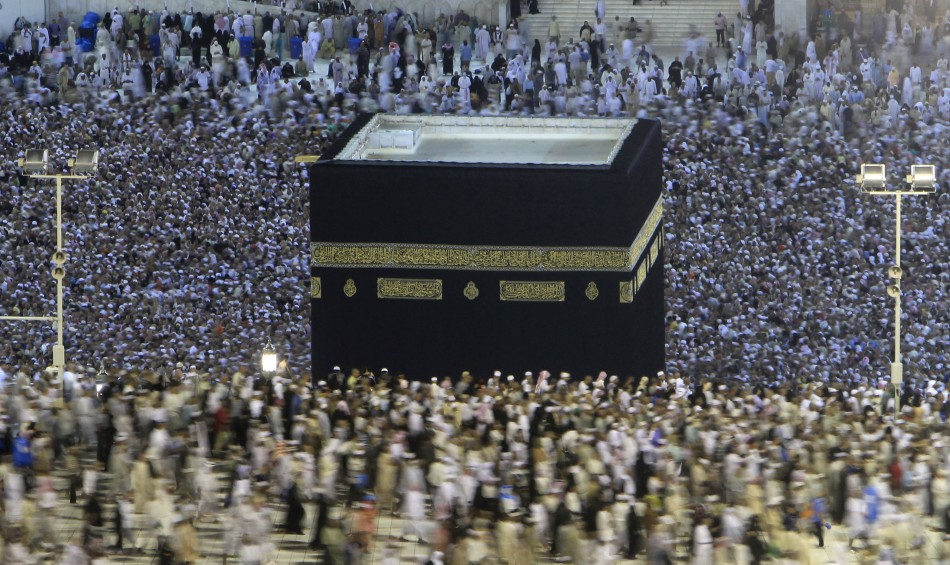 Muslim pilgrims circle the Kaaba at the Grand mosque in Mecca during the annual haj pilgrimage
