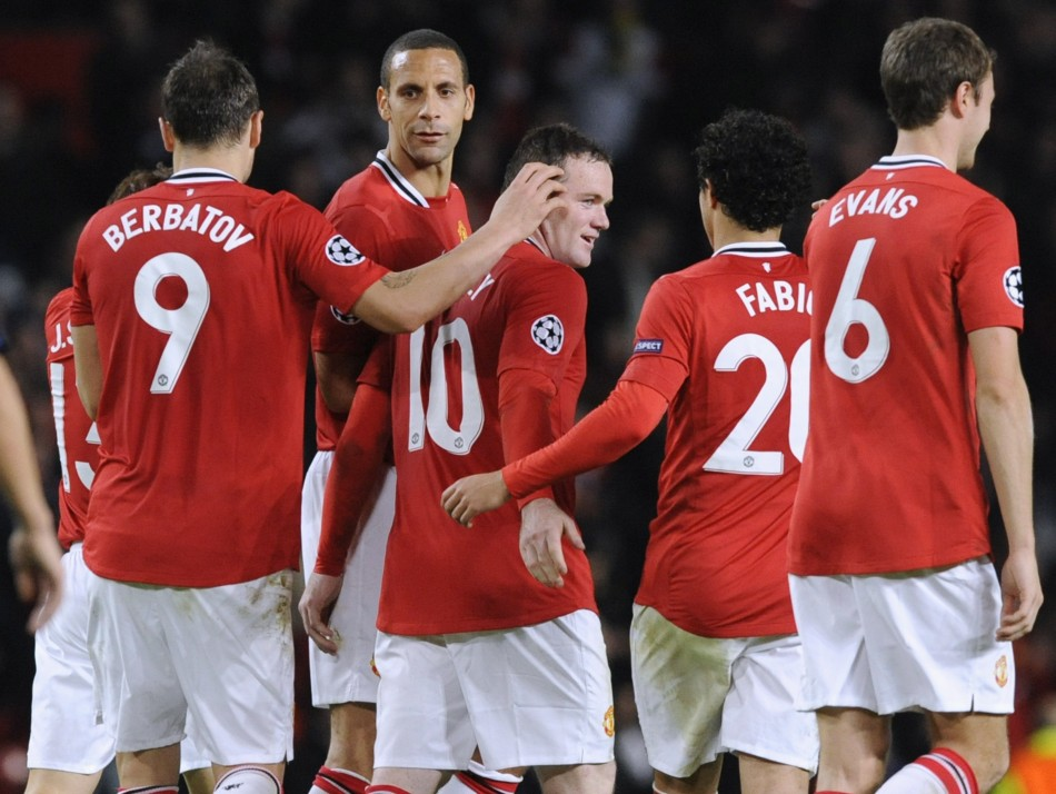 Manchester United's Rooney celebrates his goal against Otelul Galati during their Champions League Group C soccer match in Manchester