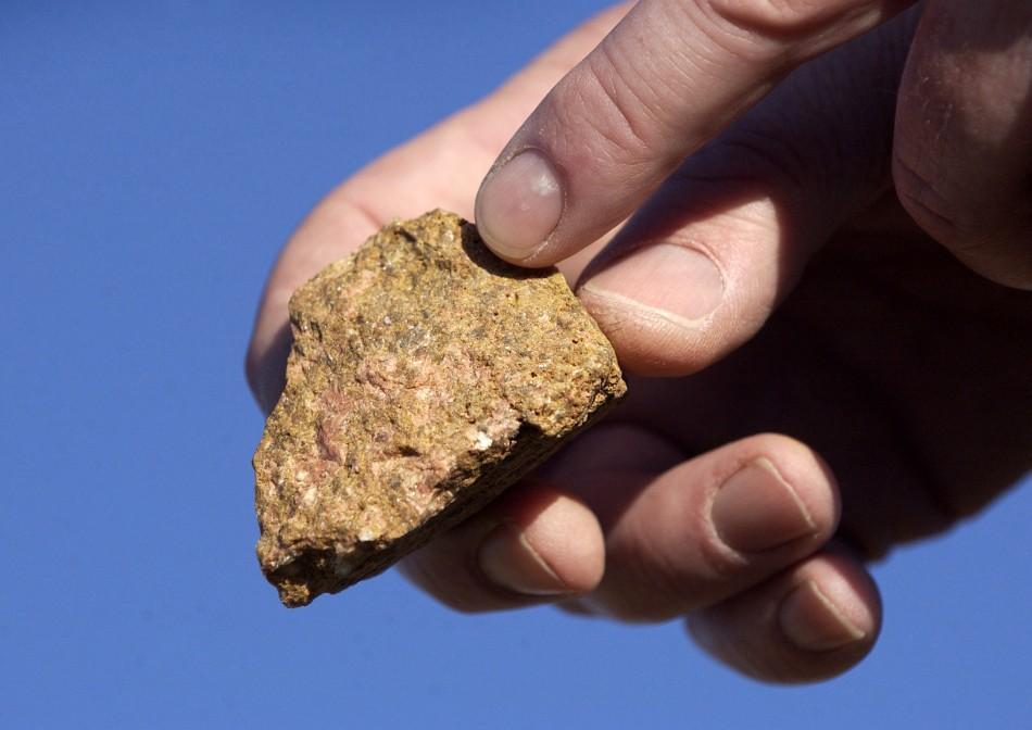 A piece of bastnasite ore contains rare earth elements.