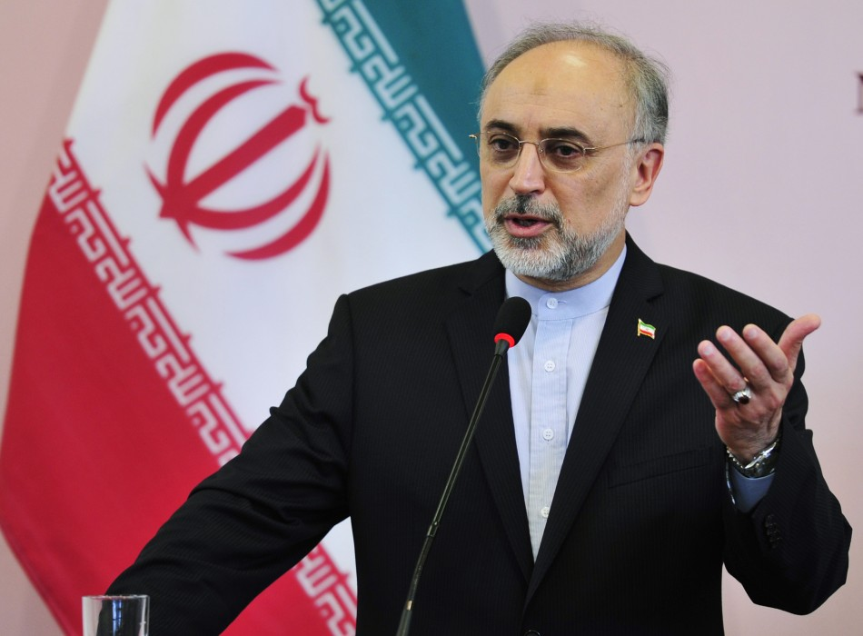 Iranian Foreign Minister Salehi speaks during a news conference during his visit to Benghazi