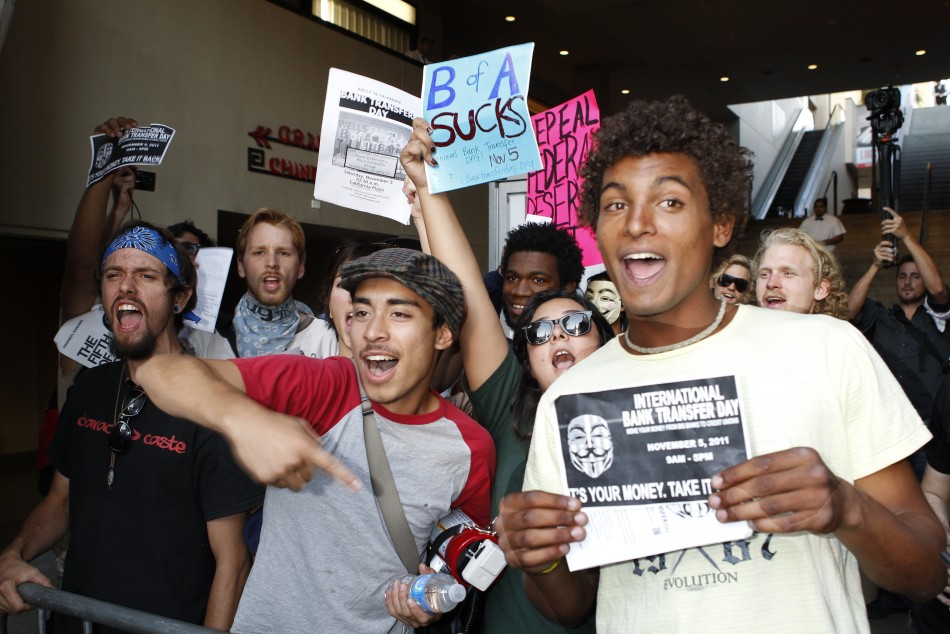 Protestors supporting International Bank Transfer Day demonstrate before the premiere of quotA Very Harold  Kumar 3D Christmasquot in Hollywood