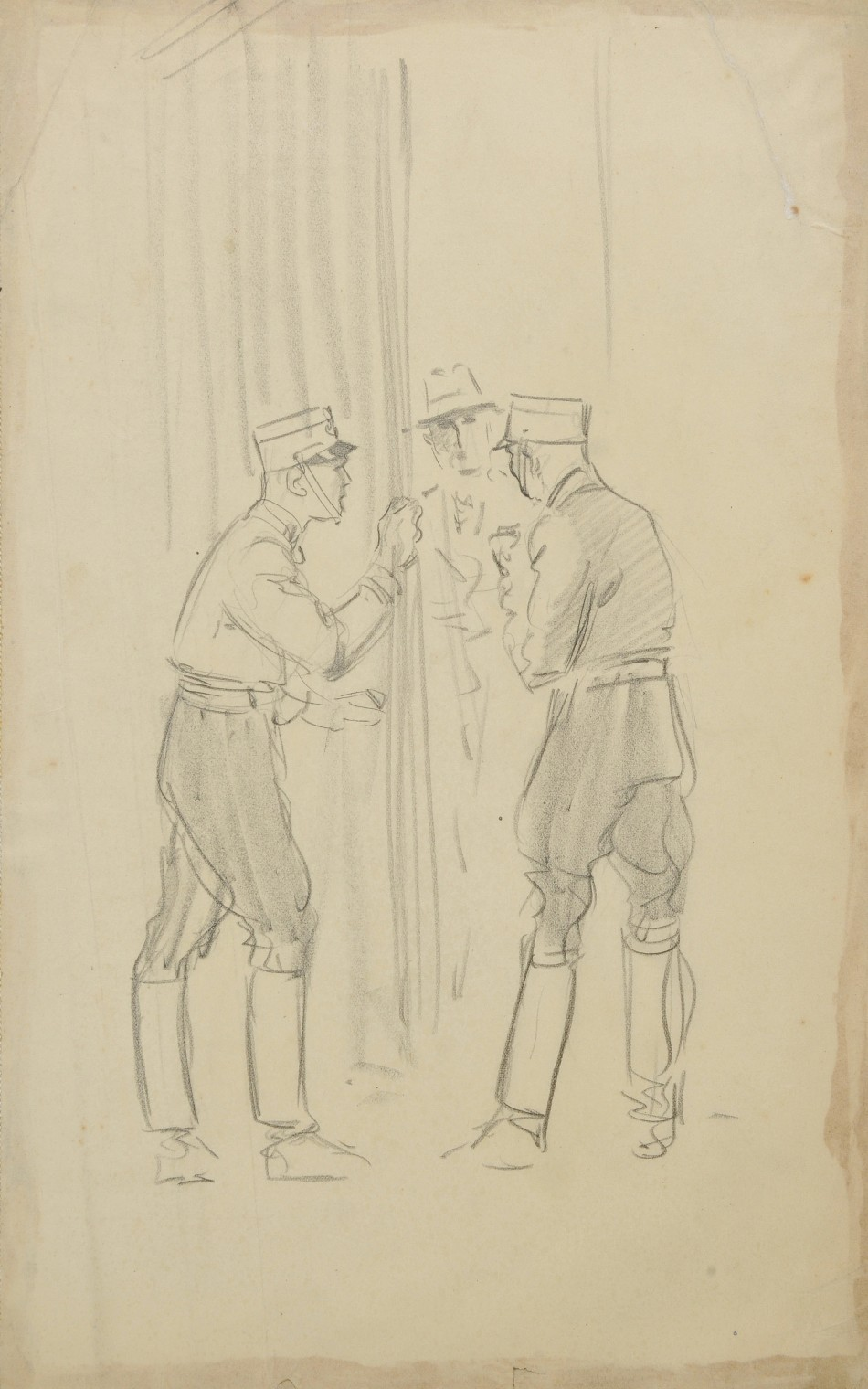 This sketch shows two Nazis opening a curtain to a civilian