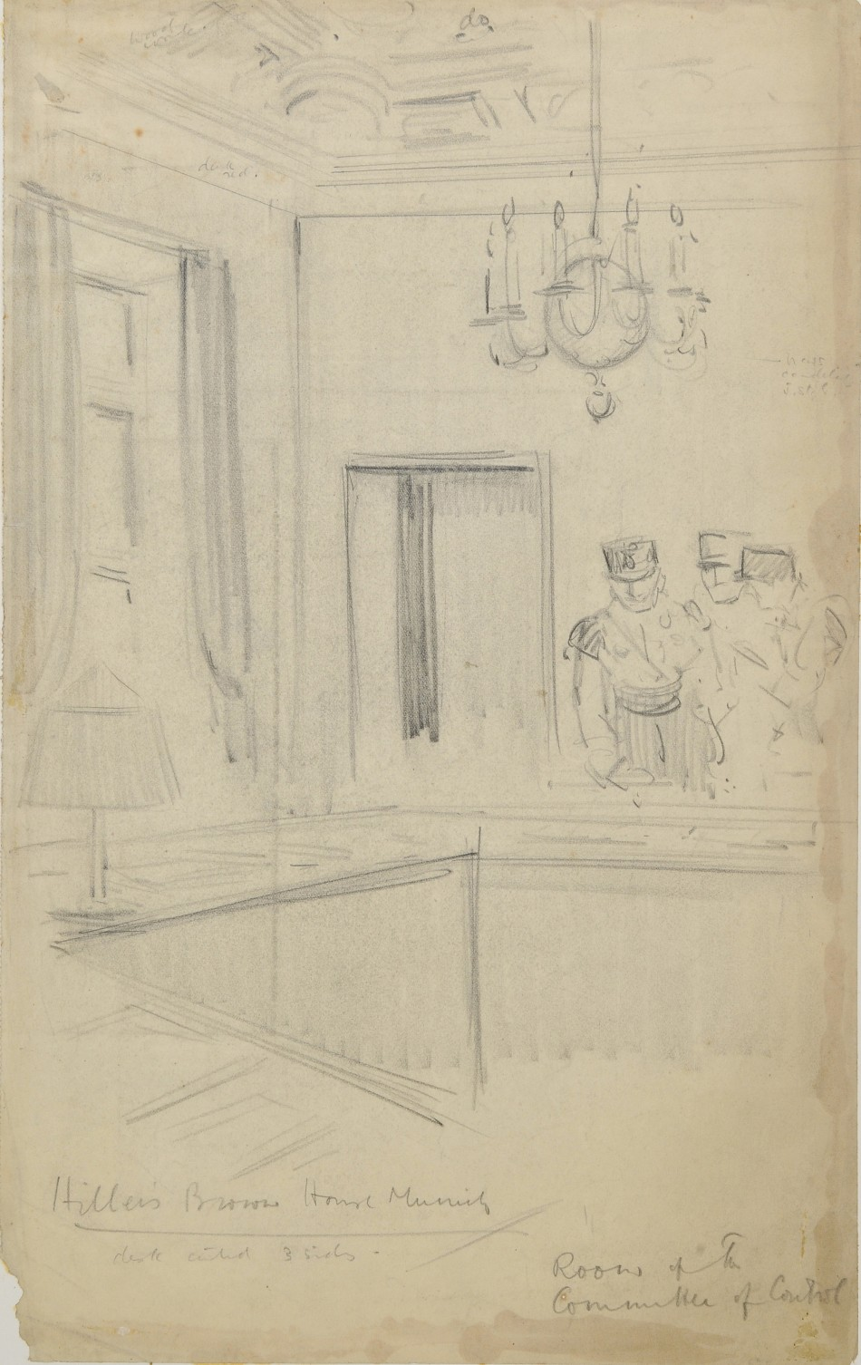 This drawing by Helen McKie shows Nazi officials inside a committee room at Hitler's Munich headquarters