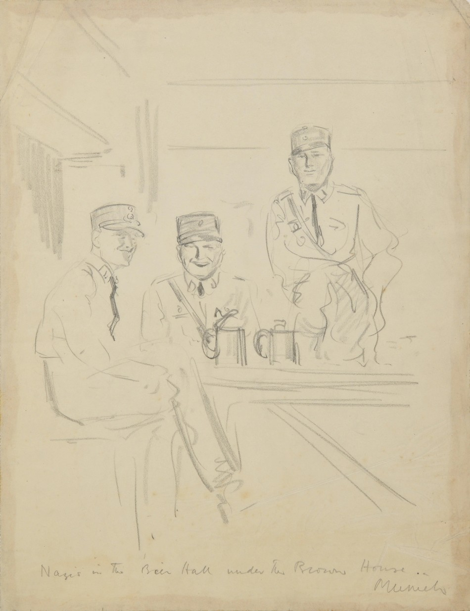 Helen McKie was the only woman allowed to sketch in Hitler's infamous Brown House lair and she produced 17 pictures detailing the day-to-day life of the Nazi party, including this of three Nazis drinking.