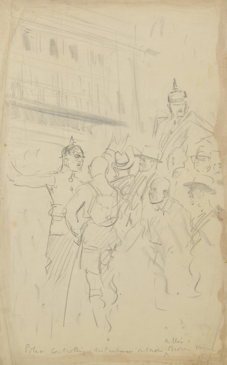 This drawing by the British artist shows police controlling a disturbance outside the Brown House