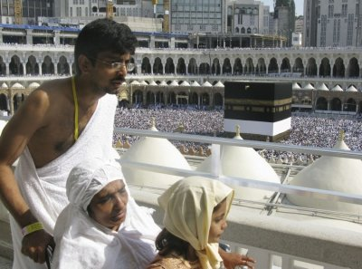 Muslim pilgrims circle the Kaaba at the Grand mosque in Mecca during the haj annual pilgrimage