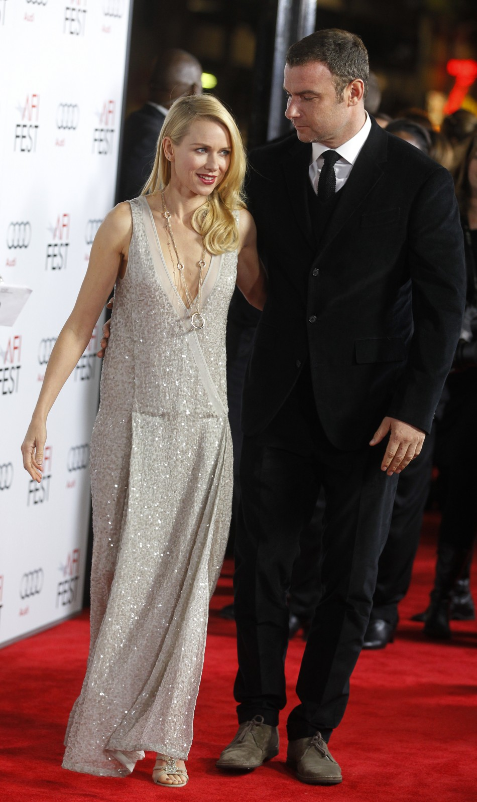 Actress Naomi Watts poses with boyfriend actor Liev Schreiber at the opening night gala for AFI Fest 2011 with the premiere of her new film film