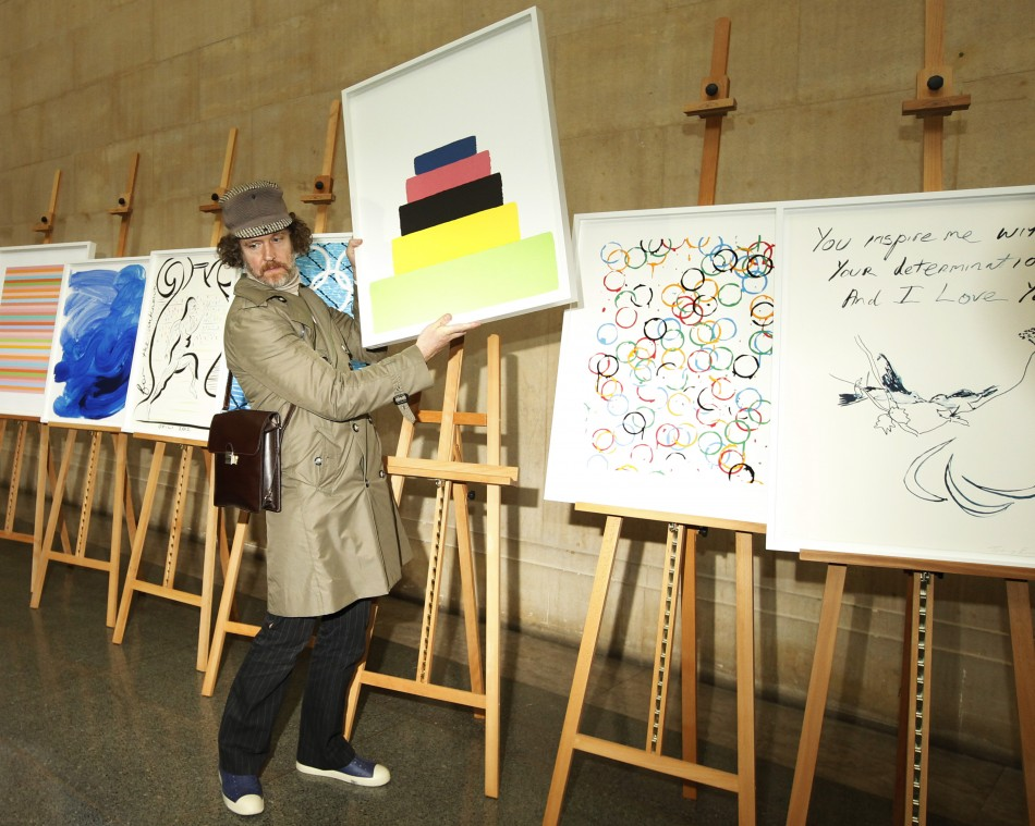 Artist Martin Creed poses with his Olympic poster quotWork No. 1273quot at the unveiling ceremony of the official Olympic and Paralympic posters for London 2012 at the Tate Britain gallery in London November 4, 2011.