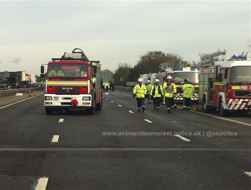Emergency services rush to the M5 motorway to attend the injured and sift through the wreckage of a pile-up on after 34 vehicles crashed on Friday night.