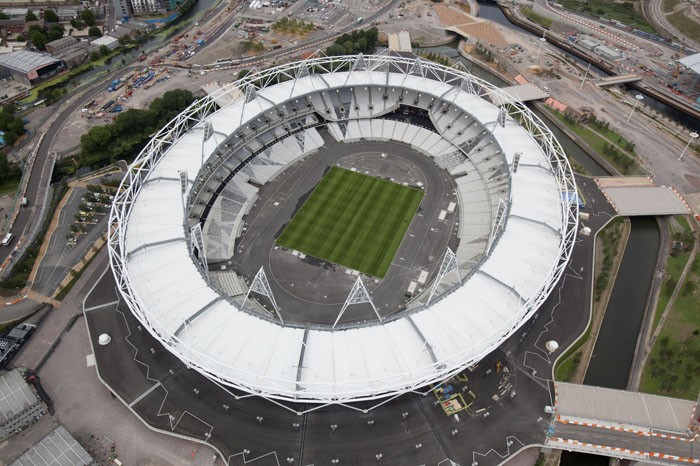 An aerial view of the Olympic Stadium with complete construction on the venue.