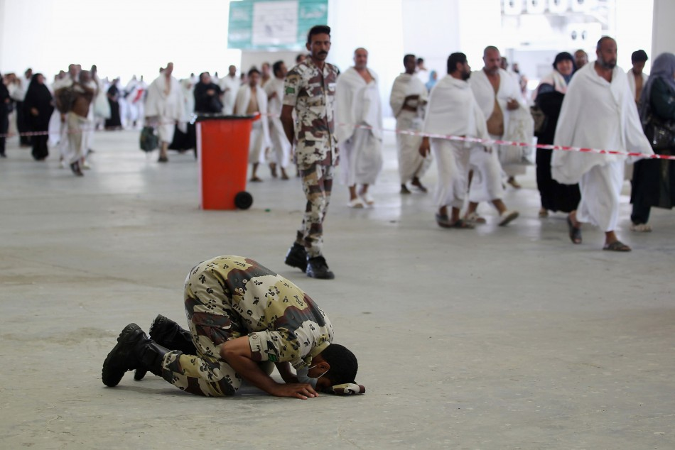 Security personnel prays in Mina near the holy city of Mecca