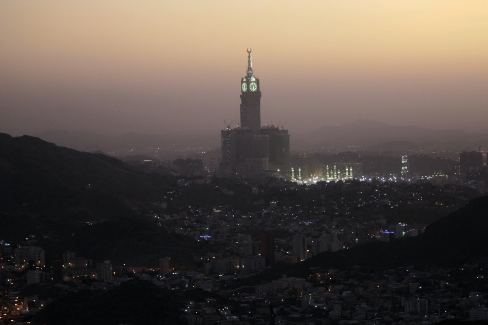 A view of Mecca's Grand Mosque and the four-faced Clock Tower seen during the annual haj pilgrimage, from Mount Al-Noor in Mecca