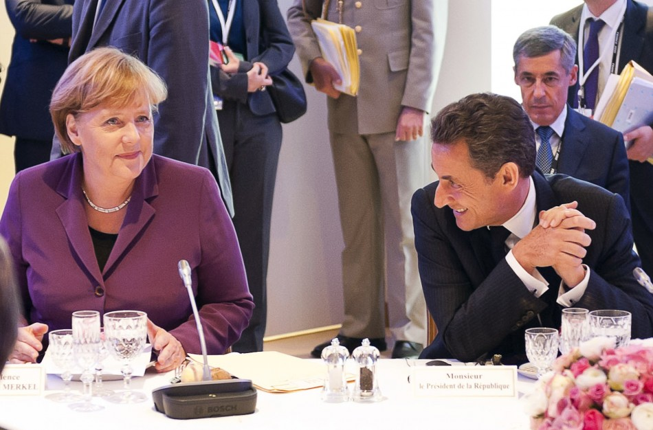 France's President Sarkozy and Germany's Chancellor Merkel